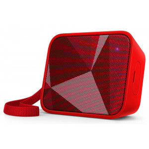 Wireless Portable Speaker Philips Pixel Pop BT110R/00 4W Sweat-Proof IPX4 Red with Speakerphone and 3.5mm Audio-in Connector 4895185620077
