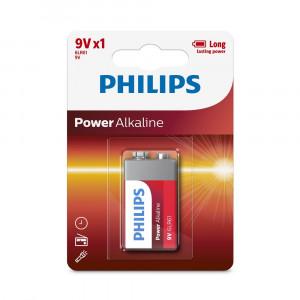 Μπαταρία Αλκαλική Philips Power Alkaline 6LR61 size 9V Τεμ. 1 4895185624365