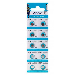 Buttoncell Vinnic 377 SR626SW Τεμ. 10 με Διάτρητη Συσκευασία 4898338000818