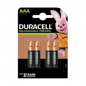Μπαταρία Επαναφορτιζόμενη Duracell 750 mAh size AAA HR03/DC2400 1.2V Τεμ. 4 5000394045019