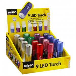 Φακός Αλουμινίου Rolson LED  Μπαταρίες Ασημί Συσκευασία 16 τεμ 5029594616935