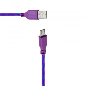 Καλώδιο σύνδεσης Κορδόνι Colour Stripes USB σε Micro USB Μώβ - Μπλέ με Μακρύ Κονέκτορα για Αδιάβροχα Τηλέφωνα 5210029031632