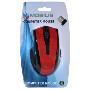 Mobilis MM-126 Wireless Mouse 6 Button 1600 DPI Black - Red (108*70*38mm) 5210029034718
