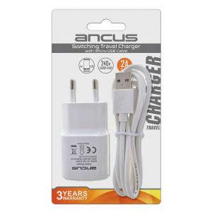 Φορτιστής Ταξιδίου Ancus Usb 2000 mAh Switching 5V με Αποσπώμενο Καλώδιο Micro USB 1m Λευκός 5210029057069