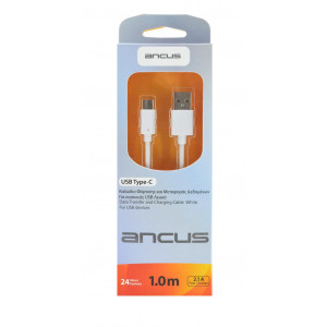 Καλώδιο σύνδεσης Ancus USB Type-C Λευκό 1m 5210029057120