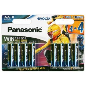 Μπαταρία Αλκαλική Panasonic Evolta LR03EGE/8BW Power Rangers size AAA 1.5V Τεμ, 8 5410853044796