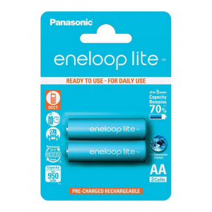 Rechargeable Battery Panasonic eneloop lite BK-3LCCE/2BE 950 mAh size AA Ni-MH 1.2V Τεμ. 2 5410853052739