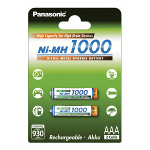 Rechargeable Battery Panasonic Ni-MH 1000 BK-4HGAE/2BE 930 mAh size AAA 1.2V Pcs 2 5410853052821