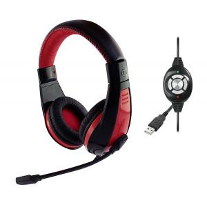 Ακουστικά Stereo Media-Tech MT3574 NEMESIS USB με Μικρόφωνο και Ενσωματωμένο Χειριστήριο με Πλήκτρα Ελέγχου Μαύρα-Κόκκινα 5906453135748