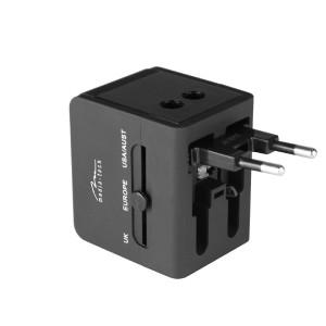 Παγκόσμιος Αντάπτορας Ρεύματος και Φορτιστής Media-Tech MT6208 με 3 Παροχές Ρεύματος (EU, USA, UK) και 2 USB Θύρες 2.1A με Ενδείξεις LED Μαύρος 5906453162089