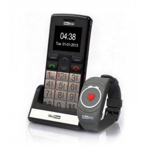 Maxcom MM715BB with Wireless SOS Wristband, Bluetooth, Large Buttons, FM Radio, Torch and Emergency Button Black-Silver 5908235972824