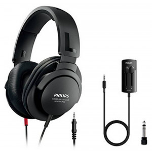 Headphones Stereo TV Philips SHP2600TV/10 3.5 mm Black with Adaptor 6.3 mm, In-Line Volume Control and 1 m + 5.2 m cable for Sound Device 6925970709453