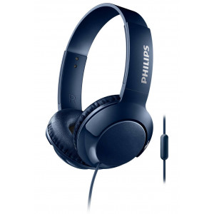 Stereo Headphone Philips BASS+ SHL3075BL/00 for Apple-Samsung-Sony-Huawei-LG with Microphone 3.5 mm Blue 6925970712941