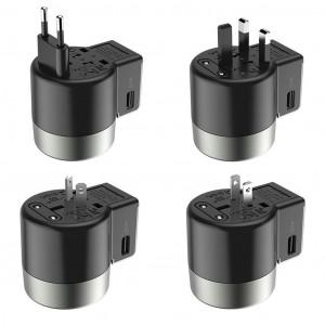 Φορτιστής Ταξιδίου Hoco AC4 Universal Converter US EU AU UK με 2 θύρες USB 2.4A Μαύρος 6931474701626