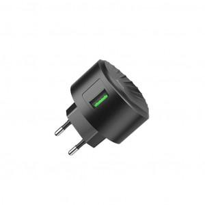Φορτιστής Ταξιδίου Hoco C68A Shell Single USB QC 3.0 18W Μαύρος 6931474704641