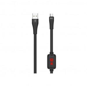 Καλώδιο σύνδεσης Hoco S4 USB σε Micro-USB 2.4A Μαύρο 1.2m με ένδειξη φόρτισης 6931474705822