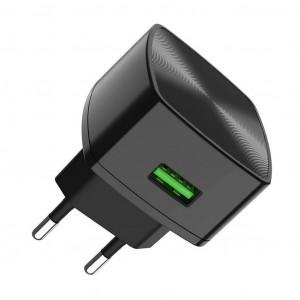 Φορτιστής Ταξιδίου Hoco C70A Cutting-Edge Single USB QC 3.0 18W Μαύρος 6931474706638