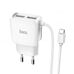 Φορτιστής Ταξιδίου Hoco C59A Mega Joy Dual USB και ενσωματωμένο καλώδιο Micro USB Fast Charging 5V/2.1A Λευκός με Intelligent Balance 6931474707956