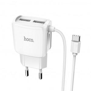 Φορτιστής Ταξιδίου Hoco C59A Mega Joy Dual USB και ενσωματωμένο καλώδιο Type-C Fast Charging 5V/2.1A Λευκός με Intelligent Balance 6931474707963