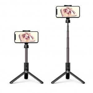 Selfie Stick Hoco K11 Wireless Πτυσσόμενο Μαύρο με Βάση Τρίποδο 68cm 6931474708441