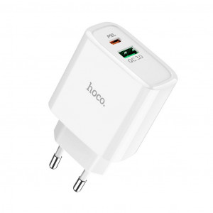 Φορτιστής Ταξιδίου Hoco C57A Speed Charger USB & Type-C Fast Charging PD & QC3.0 5V/3.1A 18W Λευκός με Intelligent Balance 6931474708625