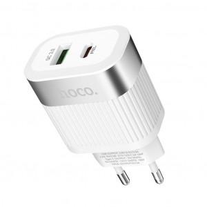 Φορτιστής Ταξιδίου Hoco C58A Prominent USB & Type-C Fast Charging PD & QC3.0 5V/3.0A 18W Λευκός με Intelligent Balance 6931474709301