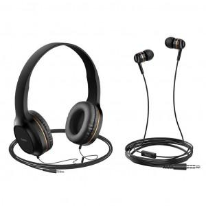 Ακουστικά Stereo Hoco W24 Enlighten Χρυσά με Μικρόφωνο και επιπλέον ακουστιά 3.5mm 6931474709639