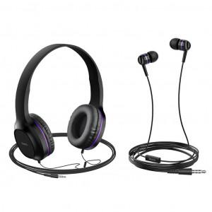 Ακουστικά Stereo Hoco W24 Enlighten Μώβ με Μικρόφωνο και επιπλέον ακουστιά 3.5mm 6931474709653