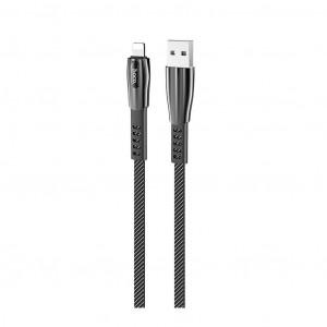Καλώδιο σύνδεσης Hoco U70 Splendor USB σε Lightning Fast Charging 2.4A Γκρι 1.2μ με Φωτεινή Ένδειξη 6931474711601