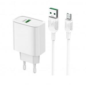 Φορτιστής Ταξιδίου Hoco C69A Dynamic Power Single USB QC3.0 22.5W Λευκός με καλώδιο Micro USB 6931474712943
