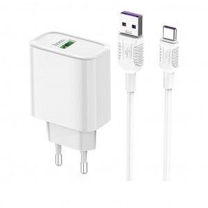 Φορτιστής Ταξιδίου Hoco C69A Dynamic Power Single USB QC3.0 22.5W Λευκός με καλώδιο Type-C 6931474712950