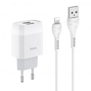 Φορτιστής Ταξιδίου Hoco C73A Glorious Dual USB Fast Charging 2.4A Λευκός με καλώδιο Lightning 6931474713056