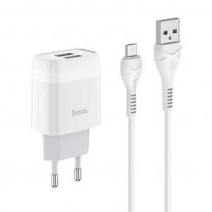 Φορτιστής Ταξιδίου Hoco C73A Glorious Dual USB Fast Charging 2.4A Λευκός με καλώδιο Micro USB 6931474713063
