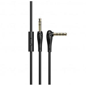 Καλώδιο σύνδεσης Ήχου με Μικρόφωνο Hoco UPA15 AUX Male σε 3.5mm Male Γωνιακό Κονέκτορα 1μ. Μαύρο 6931474713421