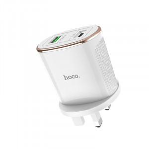 Φορτιστής Ταξιδίου Hoco C60B Prestige Dual USB Fast Charging 5V/3.4A Λευκός για πρίζα UK 6931474713490