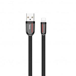 Καλώδιο σύνδεσης Κορδόνι Hoco U74 Grand USB σε Lightning Fast Charging 2.4A 1.2μ Μαύρο 6931474715074