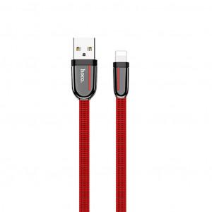 Καλώδιο σύνδεσης Κορδόνι Hoco U74 Grand USB σε Lightning Fast Charging 2.4A 1.2μ Κόκκινο 6931474715081