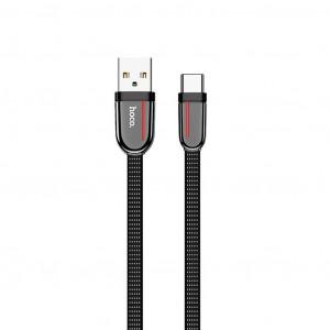 Καλώδιο σύνδεσης Κορδόνι Hoco U74 Grand USB σε Type-C Fast Charging 3.0A 1.2μ Μαύρο 6931474715111