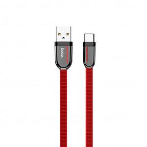 Καλώδιο σύνδεσης Κορδόνι Hoco U74 Grand USB σε Type-C Fast Charging 3.0A 1.2μ Κόκκινο 6931474715128
