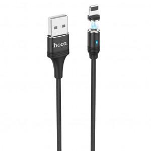 Καλώδιο σύνδεσης Hoco U76 Fresh USB σε Lightning 2.4A με Αποσπώμενο Μαγνητικό Κονέκτορα και LED Ένδειξη Μαύρο 1.2μ 6931474716705