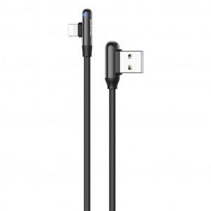 Καλώδιο Σύνδεσης Hoco U77 Με Γωνία USB σε Lightning Fast Charging 3.0A 18W Μαύρο 1.2μ 6931474717245