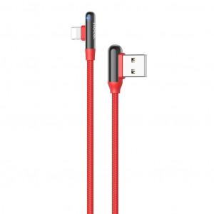 Καλώδιο Σύνδεσης Hoco U77 Με Γωνία USB σε Lightning Fast Charging 3.0A 18W Κόκκινο 1.2μ 6931474717252