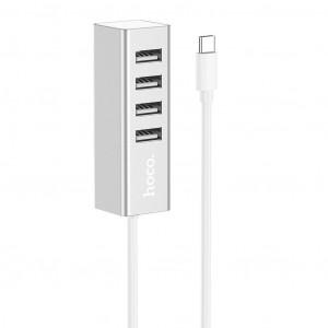 USB-C Αντάπτορας Hub Hoco HB1 με 4 Θύρες USB 2.0 Ασημι 6931474717900