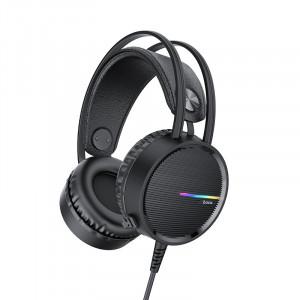 Ακουστικά Stereo Gaming Hoco W100 Touring 3.5mm με Μικρόφωνο, Ρύθμιση Έντασης Ήχου και LED Φωτισμό Μαύρα 6931474720719
