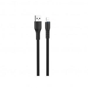 Καλώδιο σύνδεσης Hoco X44 Soft Silicone USB σε Lightning 2.4A με Ανθεκτική Σιλικόνη και Φωτεινή Ένδειξη 1μ. Μαύρο 6931474722584