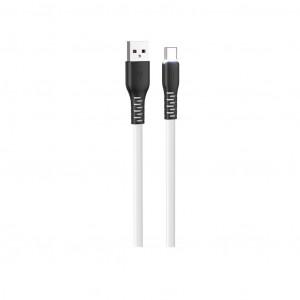 Καλώδιο σύνδεσης Hoco X44 Soft Silicone USB σε Type-C 3.0A με Ανθεκτική Σιλικόνη και Φωτεινή Ένδειξη 1μ. Λευκό 6931474722652