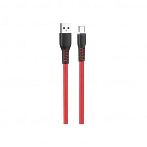 Καλώδιο σύνδεσης Hoco X44 Soft Silicone USB σε Type-C 3.0A με Ανθεκτική Σιλικόνη και Φωτεινή Ένδειξη 1μ. Κόκκινο 6931474722669