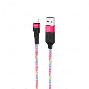 Καλώδιο σύνδεσης Hoco U85 Charming night USB σε Lightning 2.4A Φωσφορίζον Κόκκινο 1μ. 6931474723086