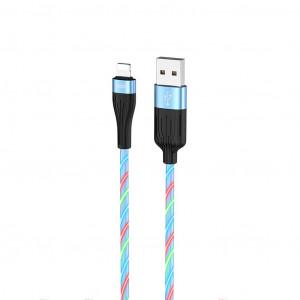 Καλώδιο σύνδεσης Hoco U85 Charming night USB σε Lightning 2.4A Φωσφορίζον Μπλε 1μ. 6931474723093