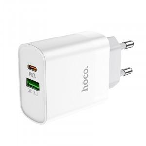 Φορτιστής Ταξιδίου Hoco C80A Rapido Dual USB-C PD και USB Quick Charge 3.0A Λευκός 6931474727862